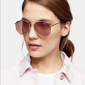 Topshop Pink Pilot Mirror Sunglasses